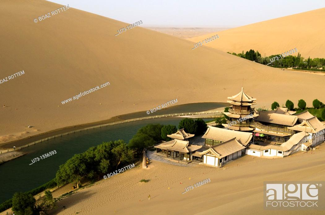 Stock Photo: The picturesque temple by the Mingsha sand dunes in Dunhuang, Gansu, China.