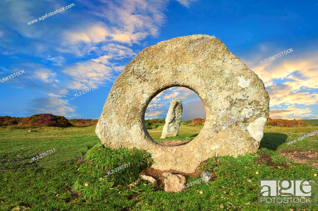 Stock Photo: Mên-an-Tol or Men an Toll locally as the Crick Stone, late Neolithic or early Bronze Age standing stones, near the Madron, Penwith peninsula, Cornwall, England.