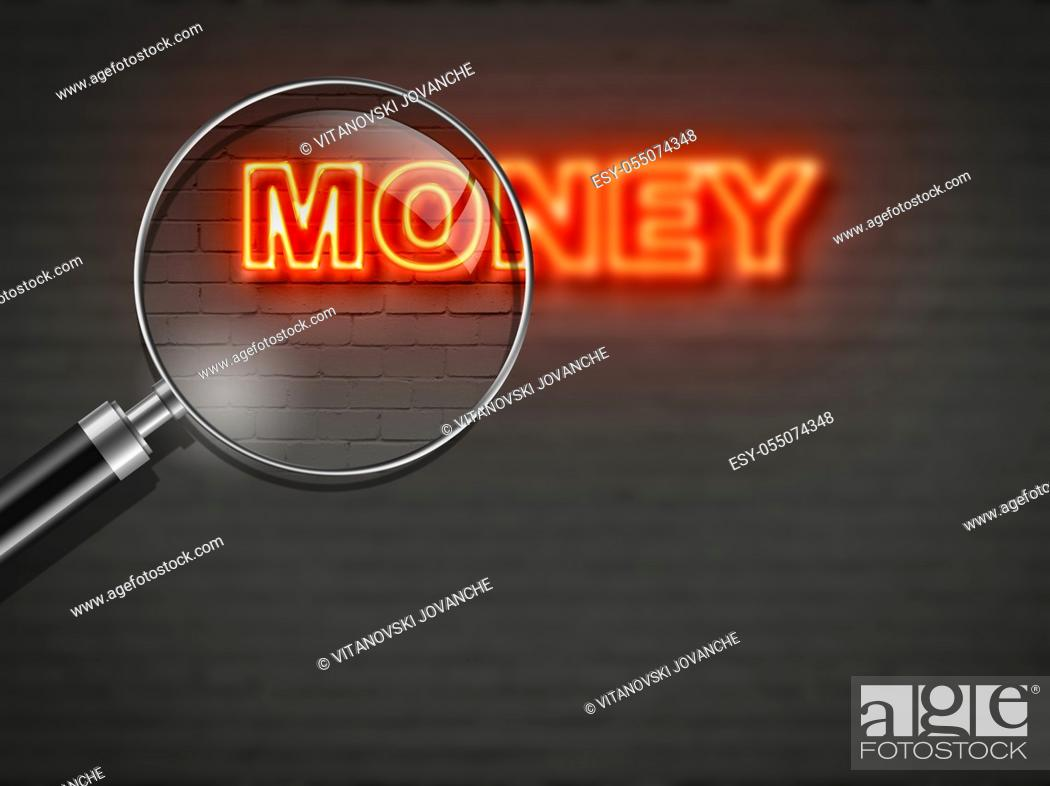 Stock Photo: writing word money r on wall background made in 2d software.