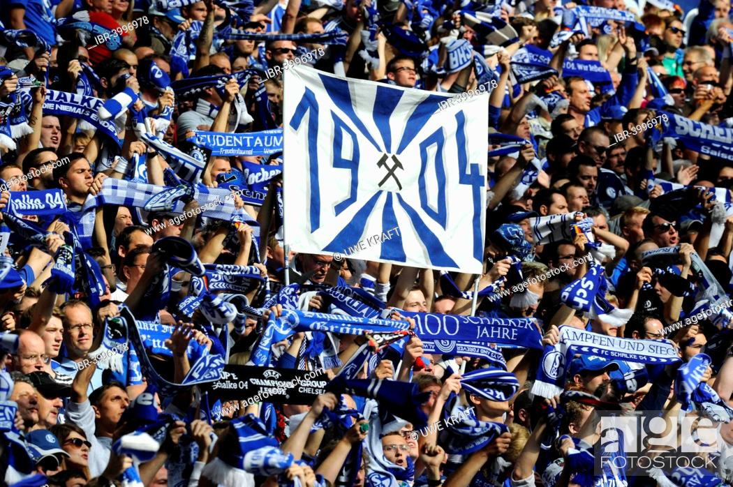 Schalke Fans On The North Stand Holding Up Scarves And A Banner 1904 Stock Photo Picture And Rights Managed Image Pic Ibr 3996978 Agefotostock