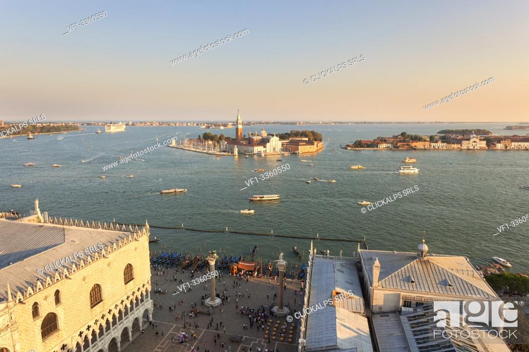 Stock Photo: St. Mark's Square and St' Georges island seen from the top of St. Mark's Campanile, Venice, Veneto, Italy.