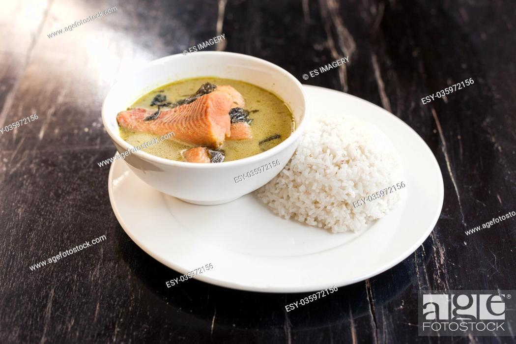 Stock Photo: Khmer Amok with Fish, a traditional Cambodian dish.