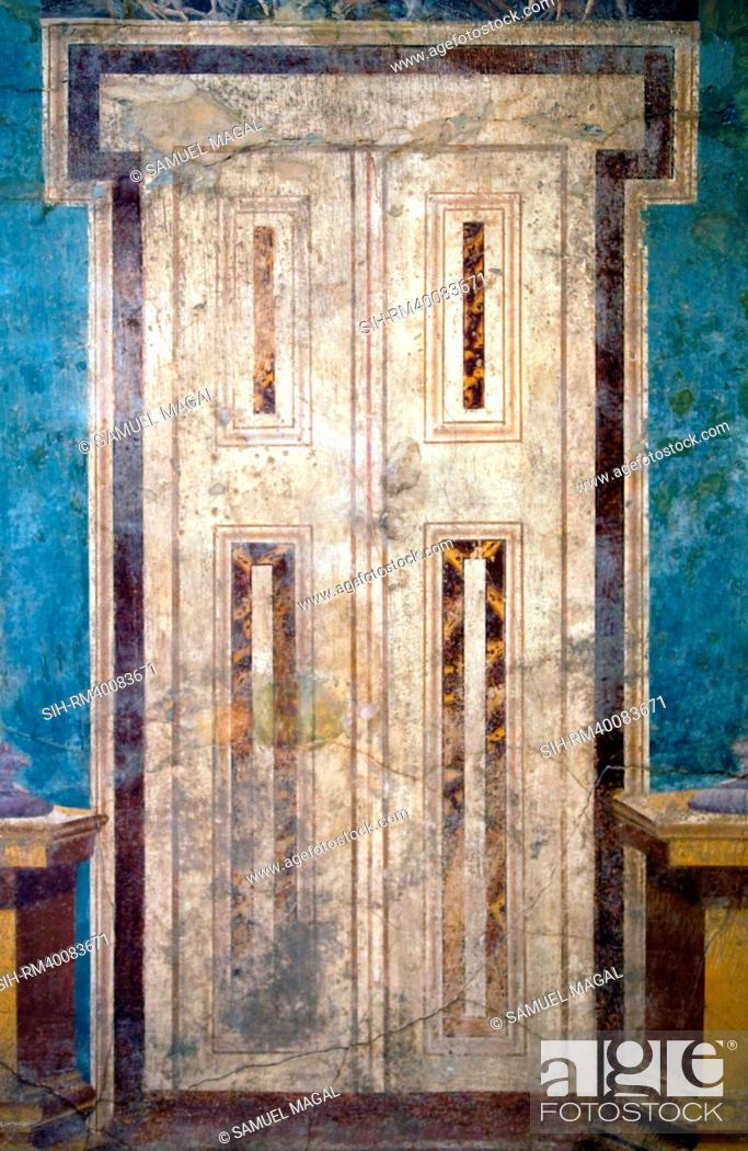 Stock Photo: Italy, Naples Museum, Boscoreale, Villa of P. Fannius Synistor, Architecture with Door and Masks.