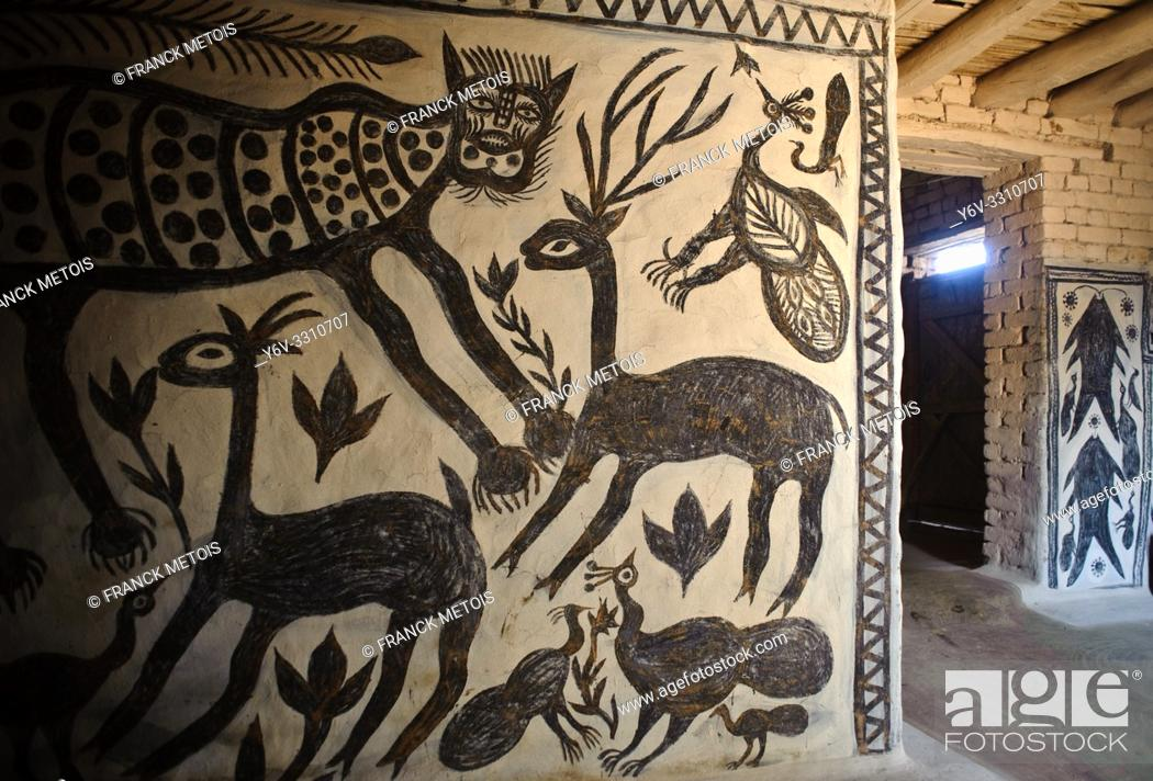 Stock Photo: Mural painting in the Hazaribagh region ( Jharkhand, India). This art form is called Khovar. Khovar art is practised by low caste and tribal women living in.