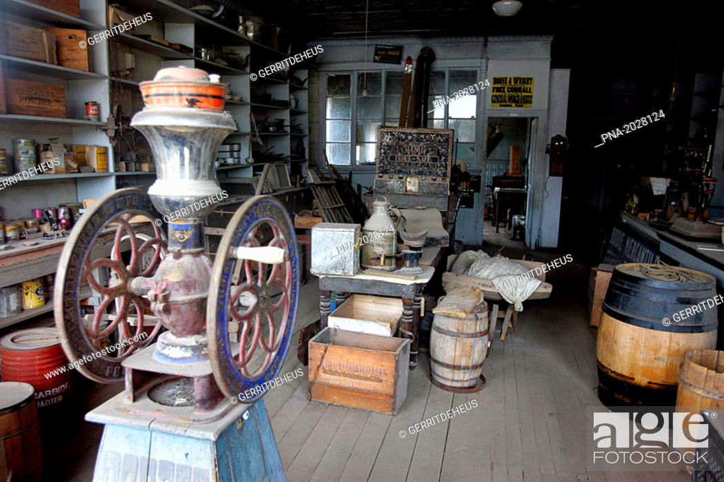 Stock Photo: Interior of Boone Store & Warehouse, ghost town of Bodie, California, USA.