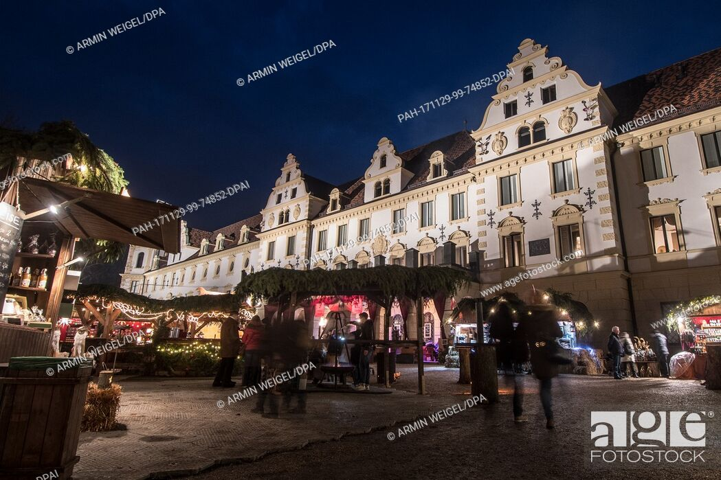 Stock Photo: View of the romantic Christmas market at the St. Emmeram Castle, also known as Thurn und Taxis Castle, in Regensburg, Germany, 29 November 2017.