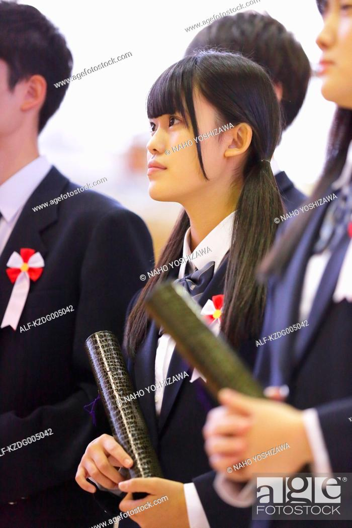 Japanese High School Graduation Ceremony Stock Photo Picture And