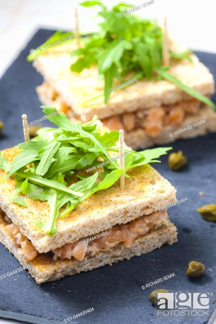 Stock Photo: salmon tartare with ruccola.