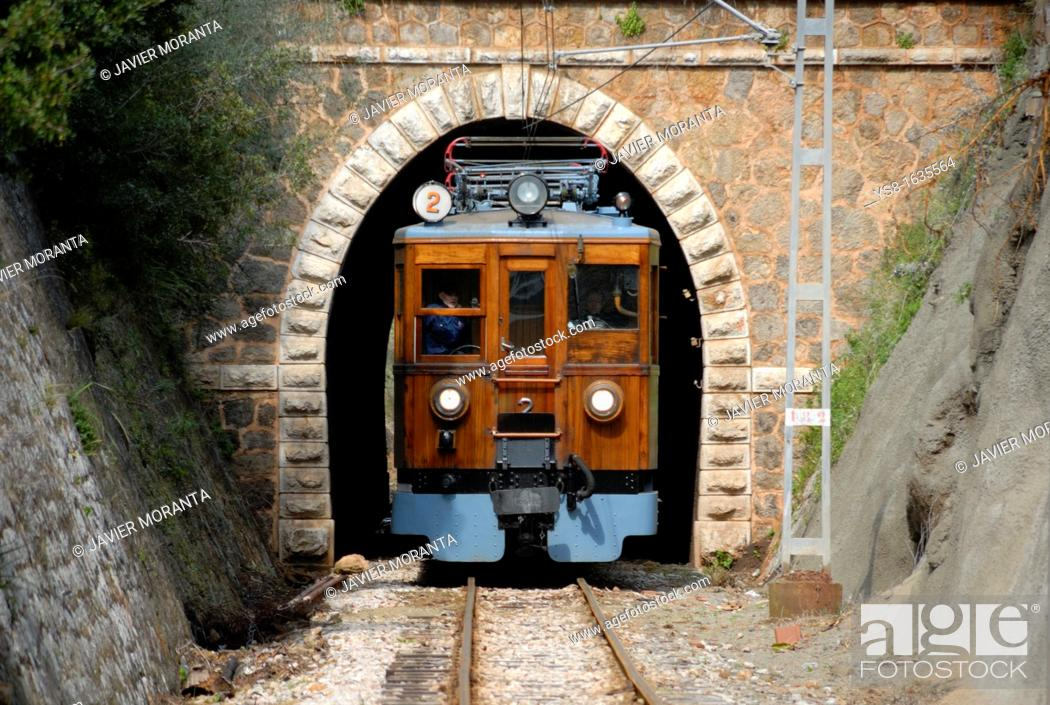Stock Photo: Europe, Spain, Mediterranean Sea, Balearic Islands, Mallorca, Soller, Soller Railway viewed from the front out of a tunnel on its way.