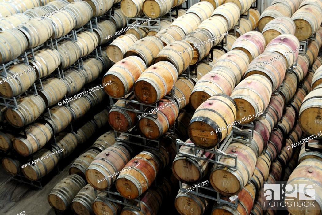 Stock Photo: Barrels, Stratus winery, Niagara, Ontario, Canada.