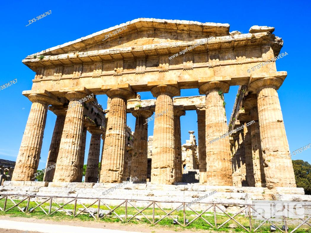 Stock Photo: The Greek doric style temple of Neptune - Archaeological Area of Paestum - Salerno, Italy.