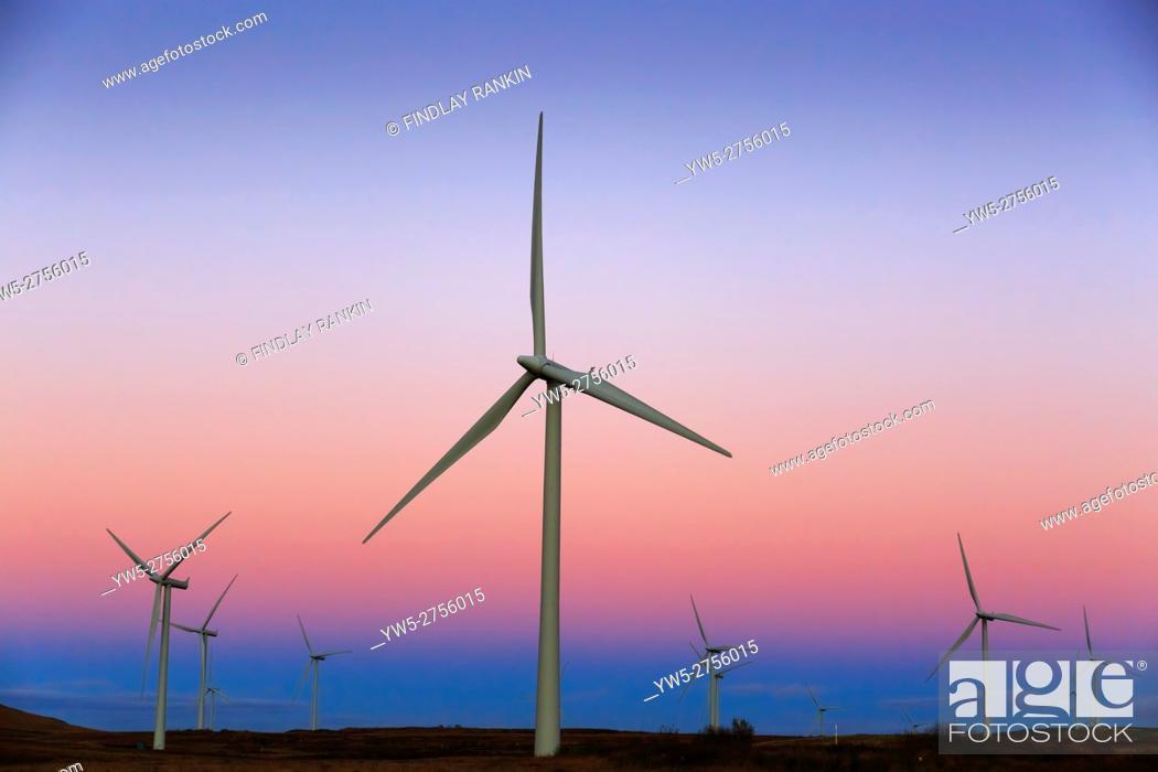 Stock Photo: Whitelee windfarm, near Glasgow, Scotland, UK. This windfarm is the largest on shore windfarm in Britian.