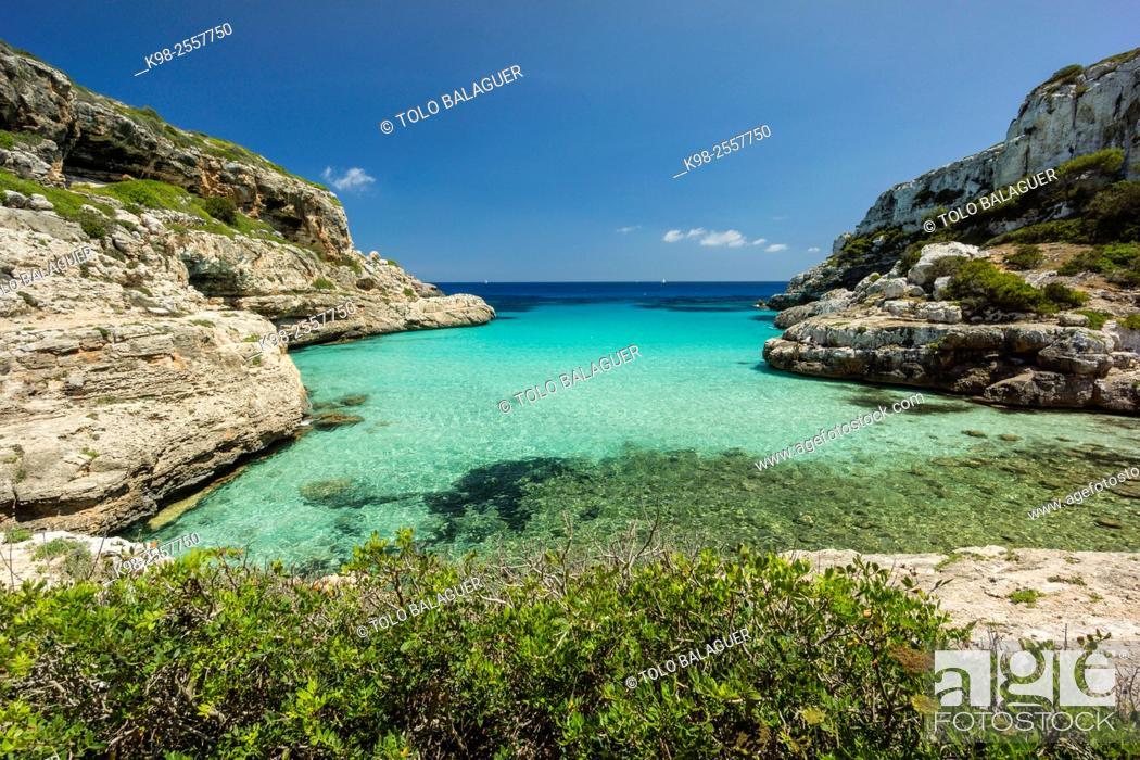 Stock Photo: Caló des Màrmols, Santanyí, Majorca, Balearic Islands, Spain.