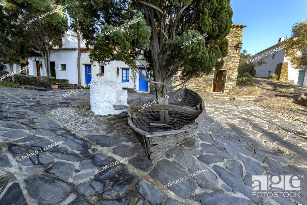 Stock Photo: Port Lligat, small Mediterranean village. overlooking the bay of Cap de Creus, and home to the Spanish, surrealist artist Salvador Dalí for almost three decades.