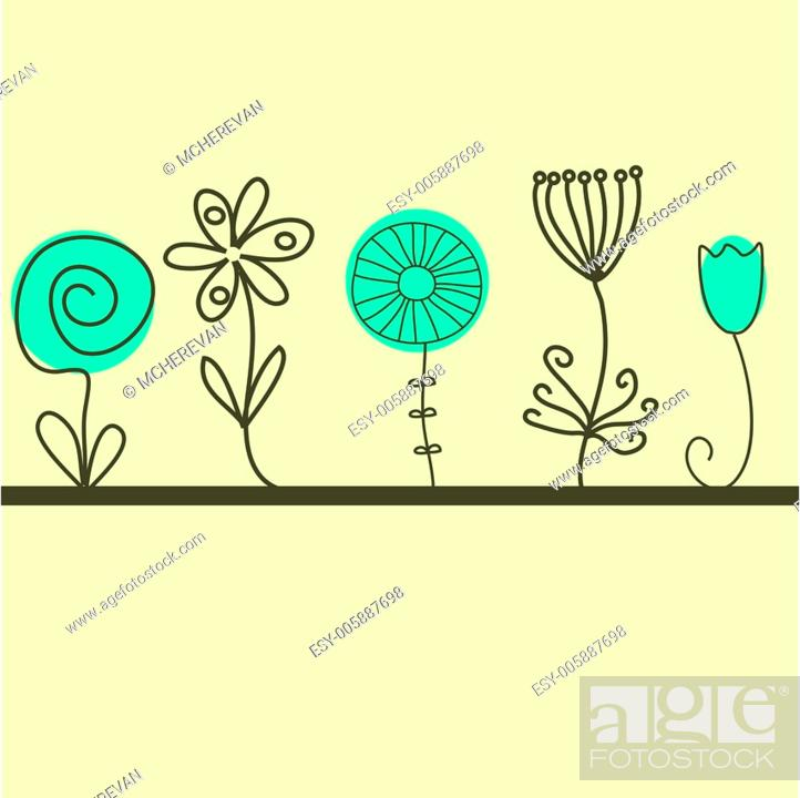 Stock Vector: Vintage card with hand drawn flowers.