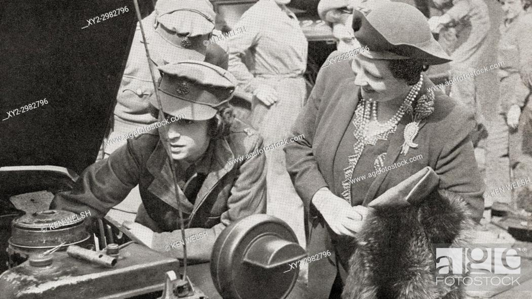 Stock Photo: Princess Elizabeth in the A. T. S. , seen here with her mother Queen Elizabeth in 1945. Princess Elizabeth of York, future Elizabeth II, born 1926.