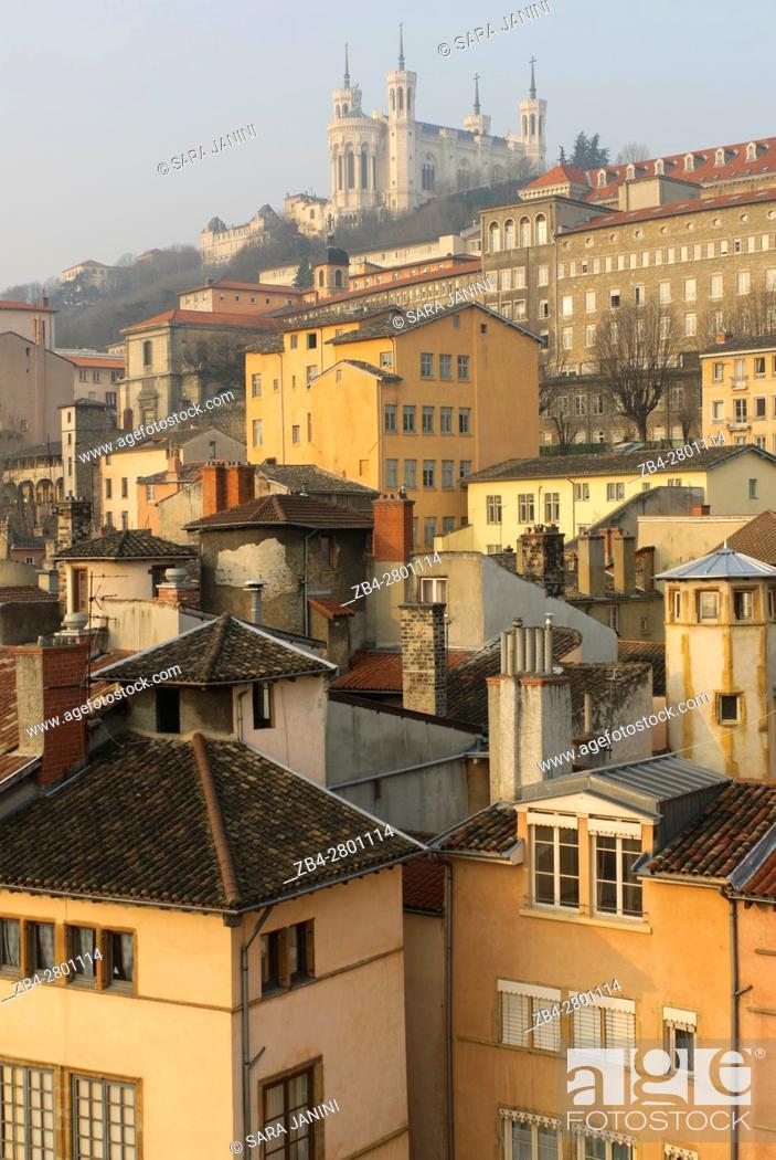 Stock Photo: Old Town UNESCO World Heritage Site and view of Notre-Dame de Fourvière, Lyon, France, Europe.