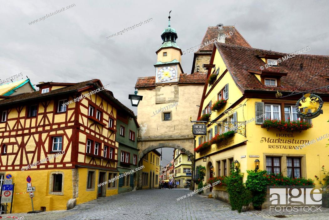 Imagen: Clock Tower Street Arch Rothenburg Germany DE Franconia Bavaria.