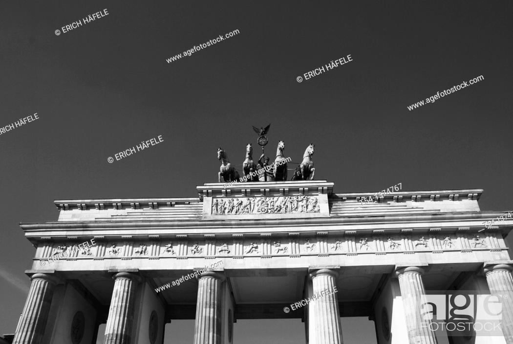 Stock Photo: Quadriga on Top of the Brandenburg Gate in Berlin.