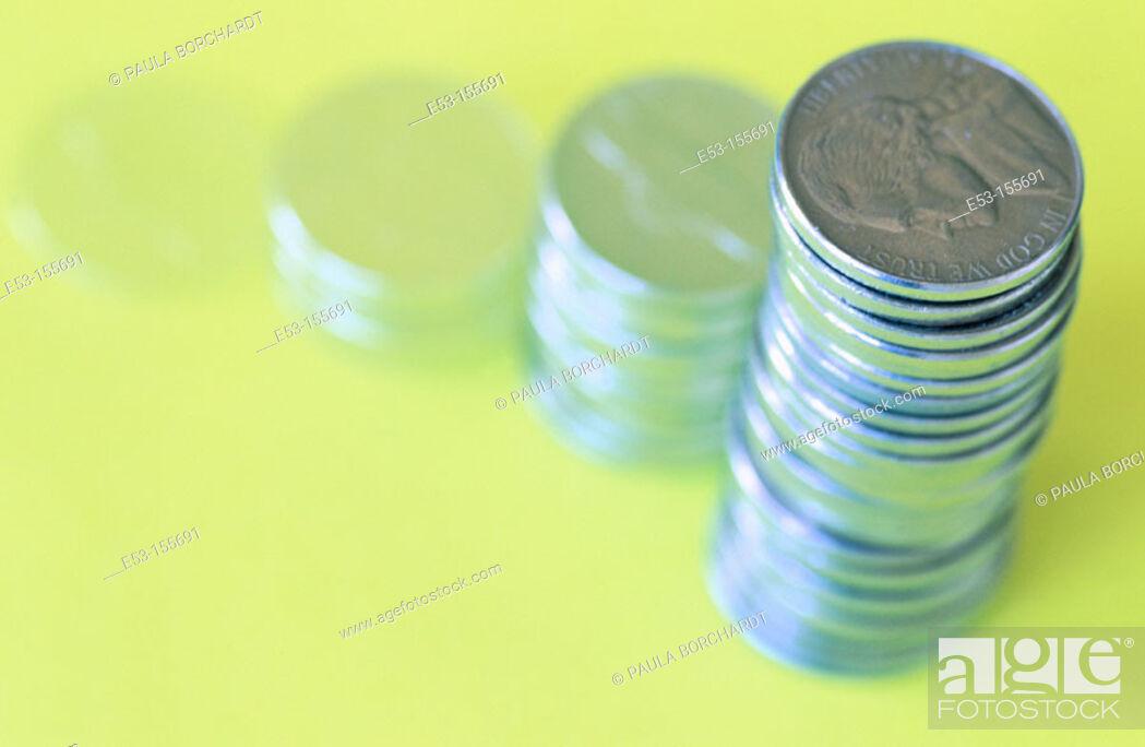Stock Photo: Stacks of American nickels.