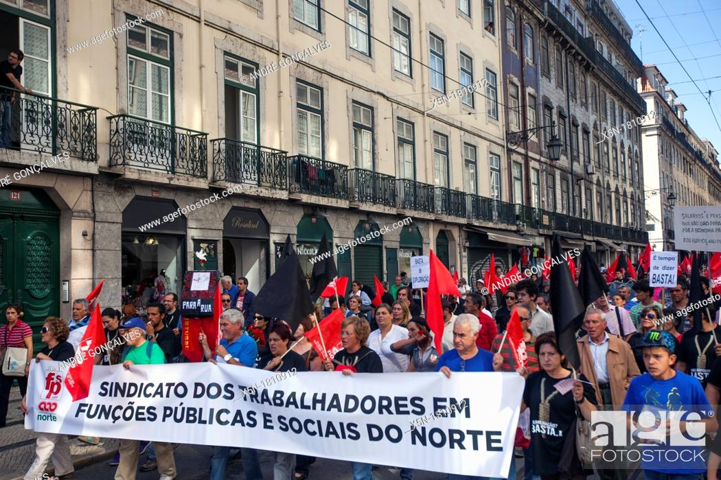 Stock Photo: CGTP Protests in Lisbon, 29 September 2012, Portugal.