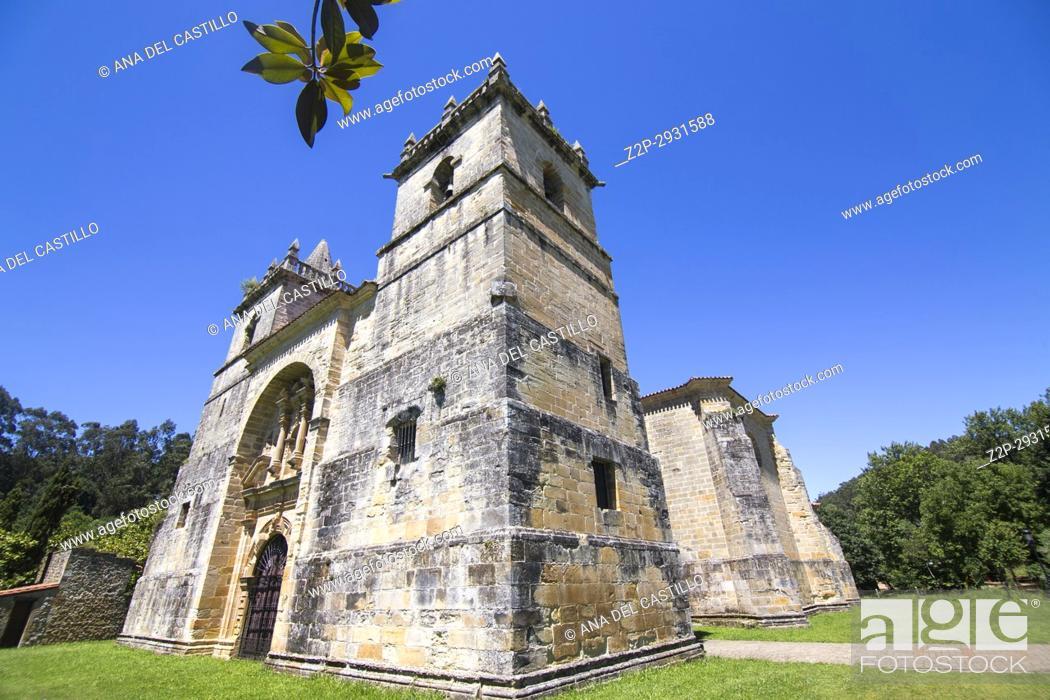 Stock Photo: Collegiate church in Ciguenza Cantabria Spain.