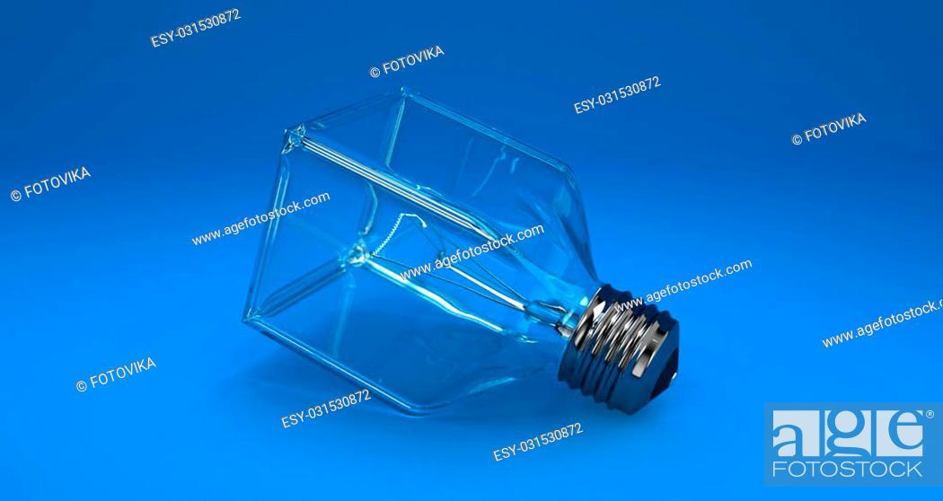 Imagen: Illustration of a square bulb on a blue background.