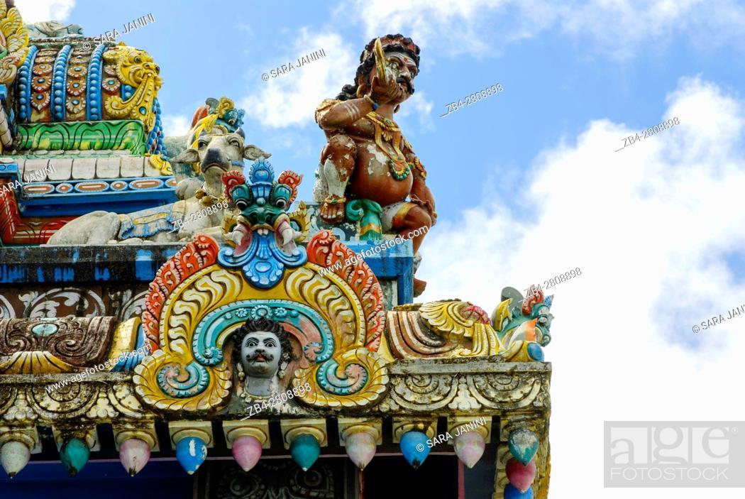 Stock Photo: Tamil Surya Oudaya Sangam Temple, Grand Baie, Mauritius, Indian Ocean, Africa.