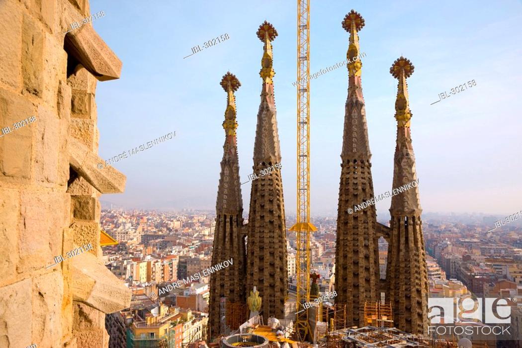 Stock Photo: La Sagrada Familia in Barcelona, Spain.