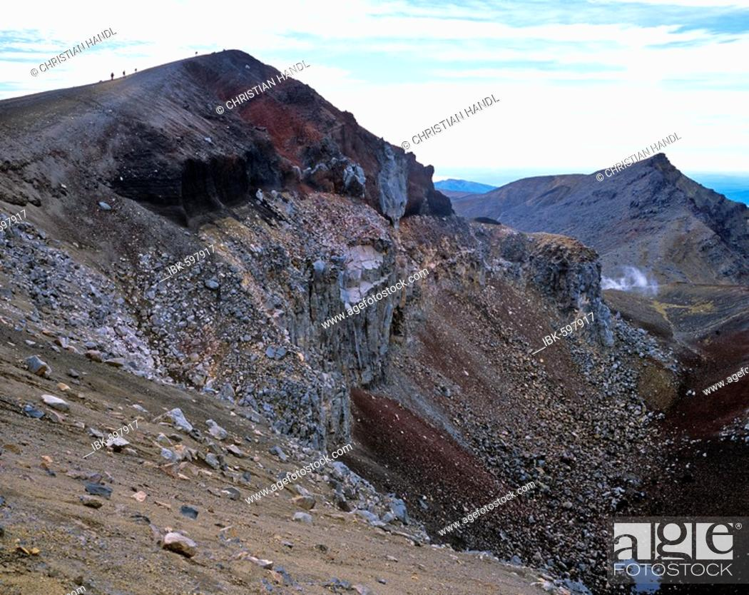 Stock Photo: Red Crater, Tongariro Crossing, Tongariro National Park, North Island, New Zealand, Oceania.