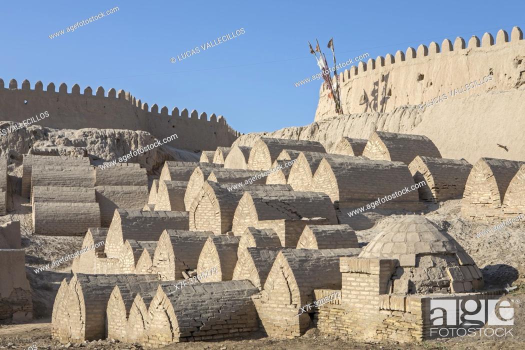 Stock Photo: Old cemetery at the city wall, old city, Khiva, Uzbekistan.