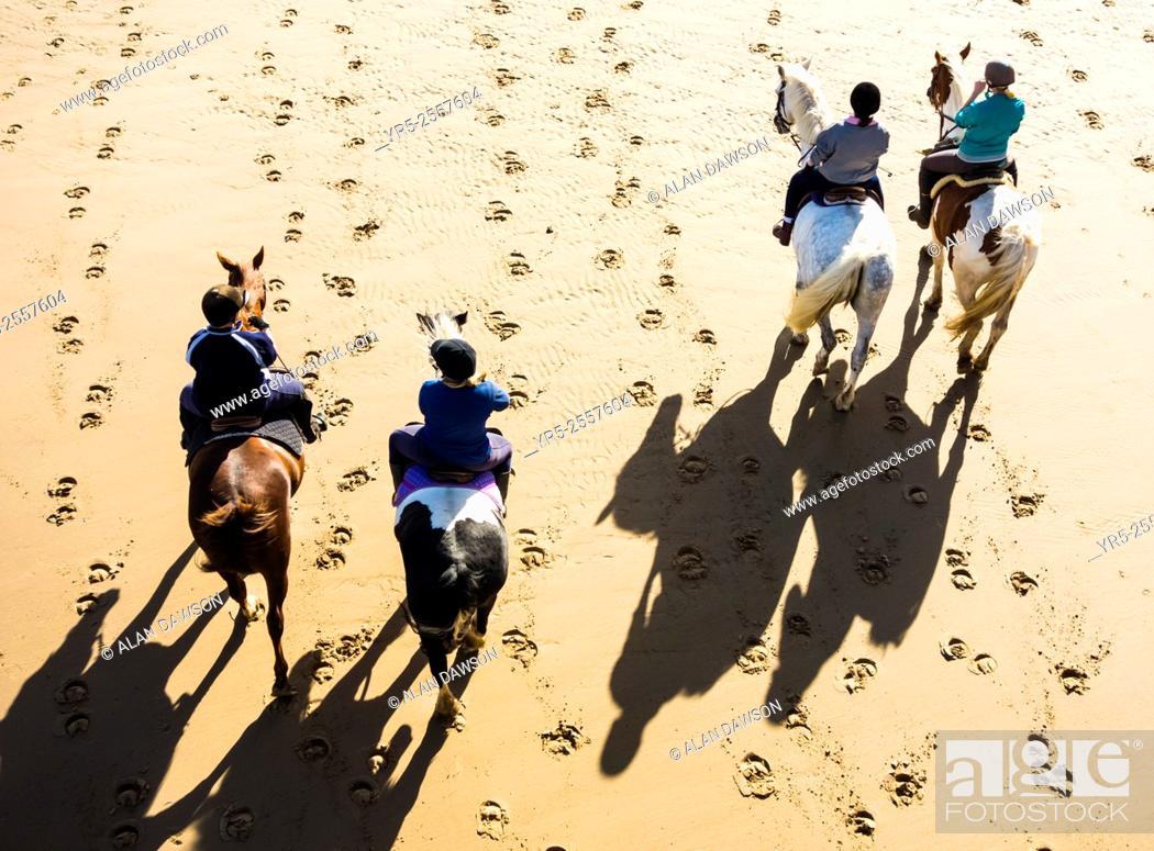 Stock Photo: Saltburn by the sea, North Yorkshire, England, United Kingdom. Horses fromlocal riding school on Saltburn beach.