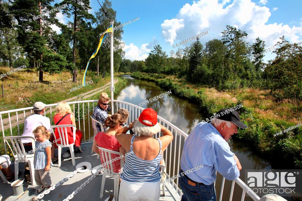 Stock Photo: Gota Kanal river cruise. Vastra Gotaland county, Sweden.