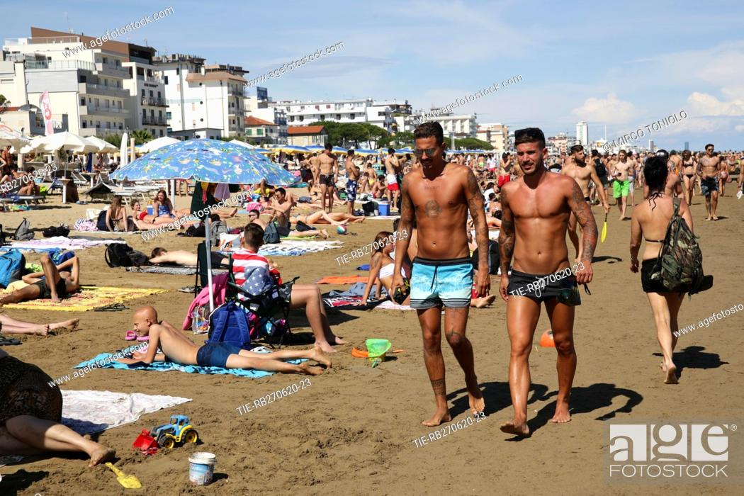 Stock Photo: People on the Jesolo beach , ITALY-27-06-2020.
