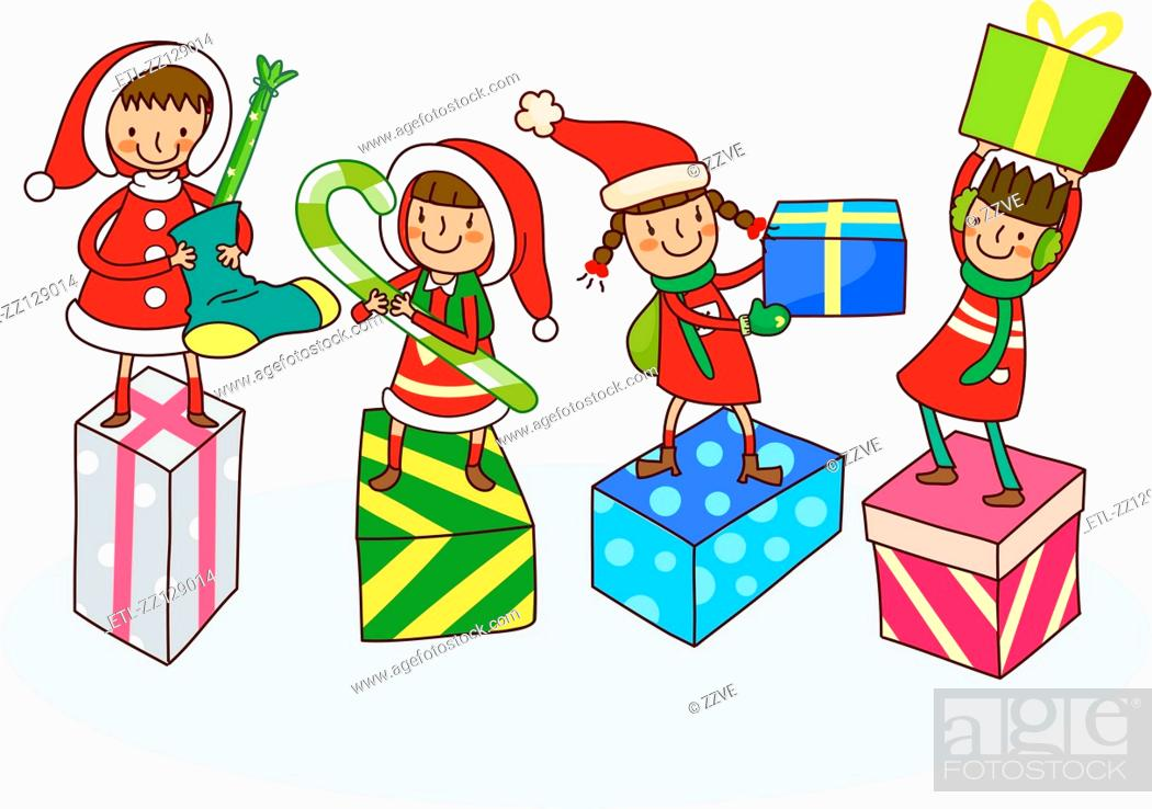 Stock Photo: Four girls with Christmas presents.