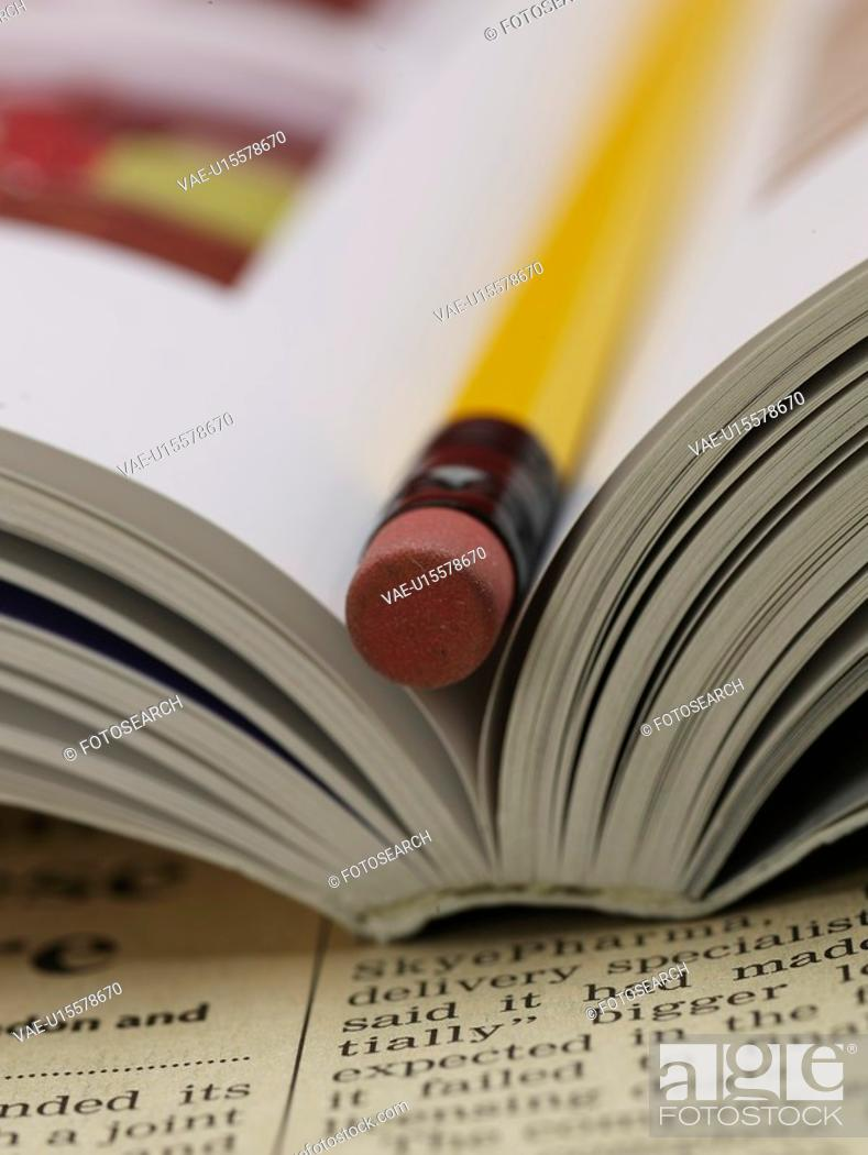 Stock Photo: school stationery, newspaper, stationery, business supplies, book, writing instrument, artifact.