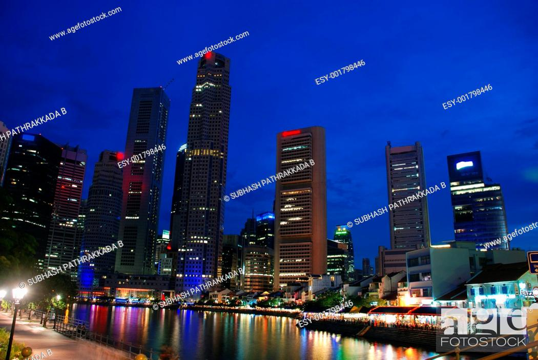Stock Photo: Singapore city at night.
