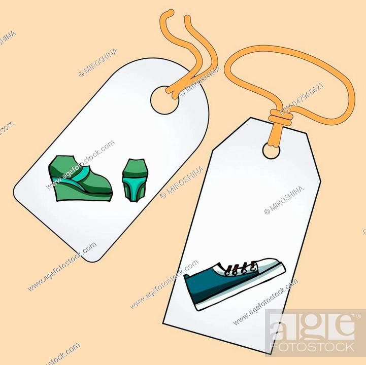 Stock Vector: Label, badge, price tag with the image of fashionable things.Fashion set. Different shoes. illustration in hand drawing style.