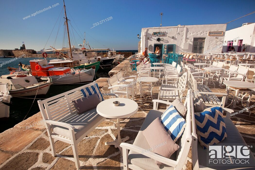 Stock Photo: View to the open-air restaurants near the port, Naoussa, Paros, Cyclades Islands, Greek Islands, Greece, Europe.