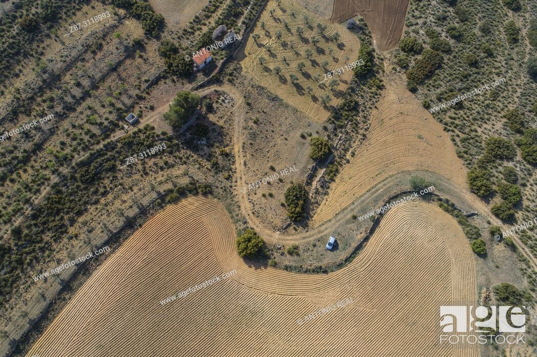 Stock Photo: Land plots viewed from a dron. Almansa. Albacete. Spain.