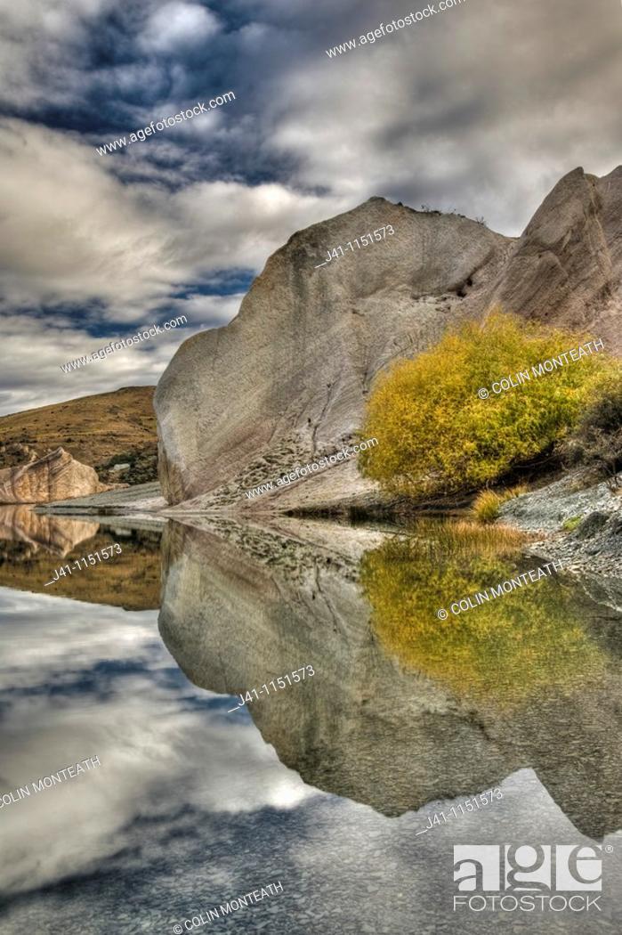Stock Photo: Blue Lake reflection, St Bathan's, autumn, Central Otago, New Zealand.