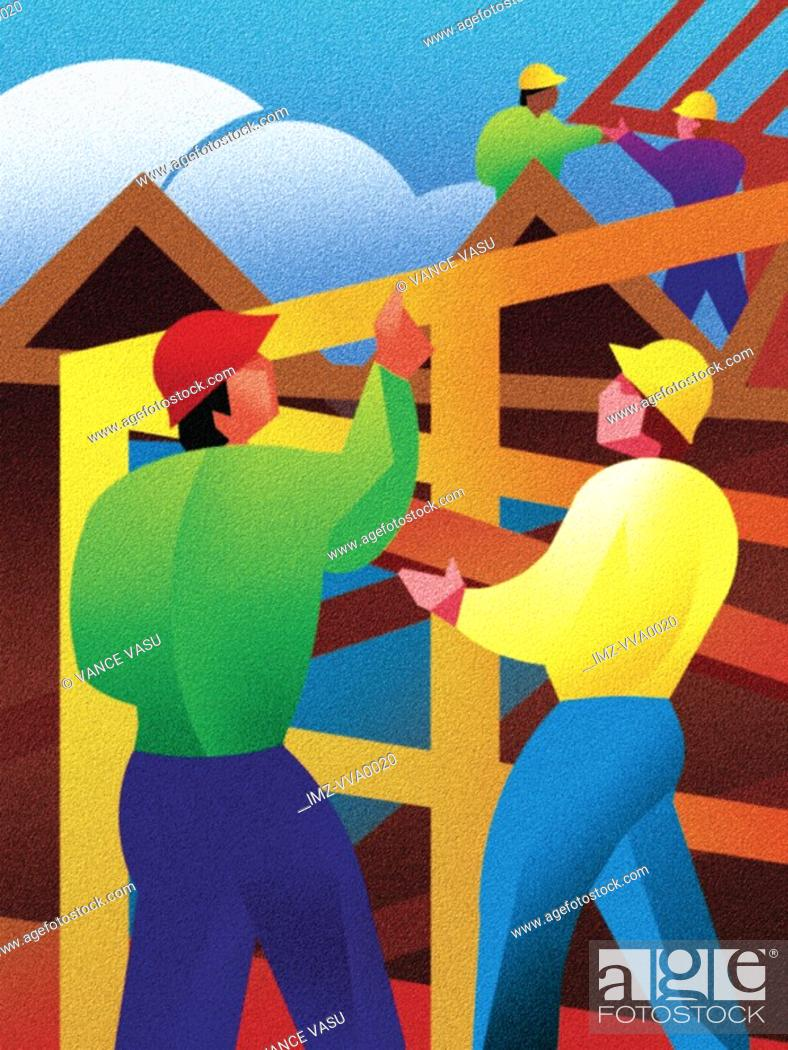 Stock Photo: Illustration of construction workers putting up a frame of a house.
