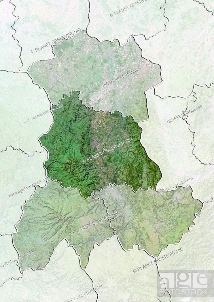 Stock Photo: Departement of Puy-de-Dome, France, True Colour Satellite Image.
