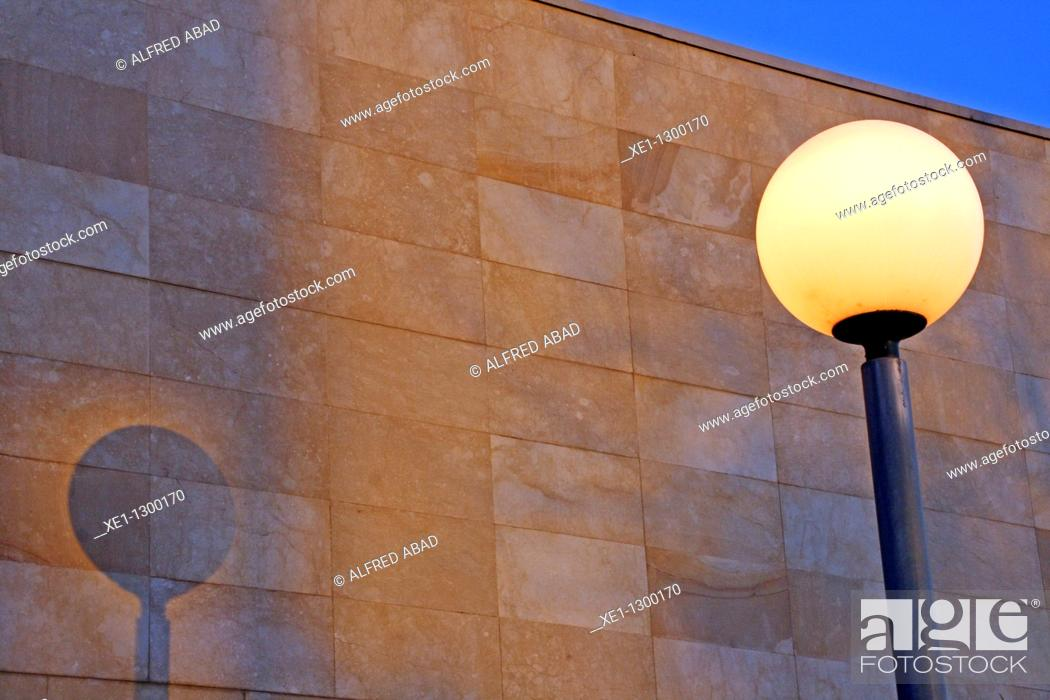 Stock Photo: Street lamp beside mortuary building, gava, Catalonia, Spain.
