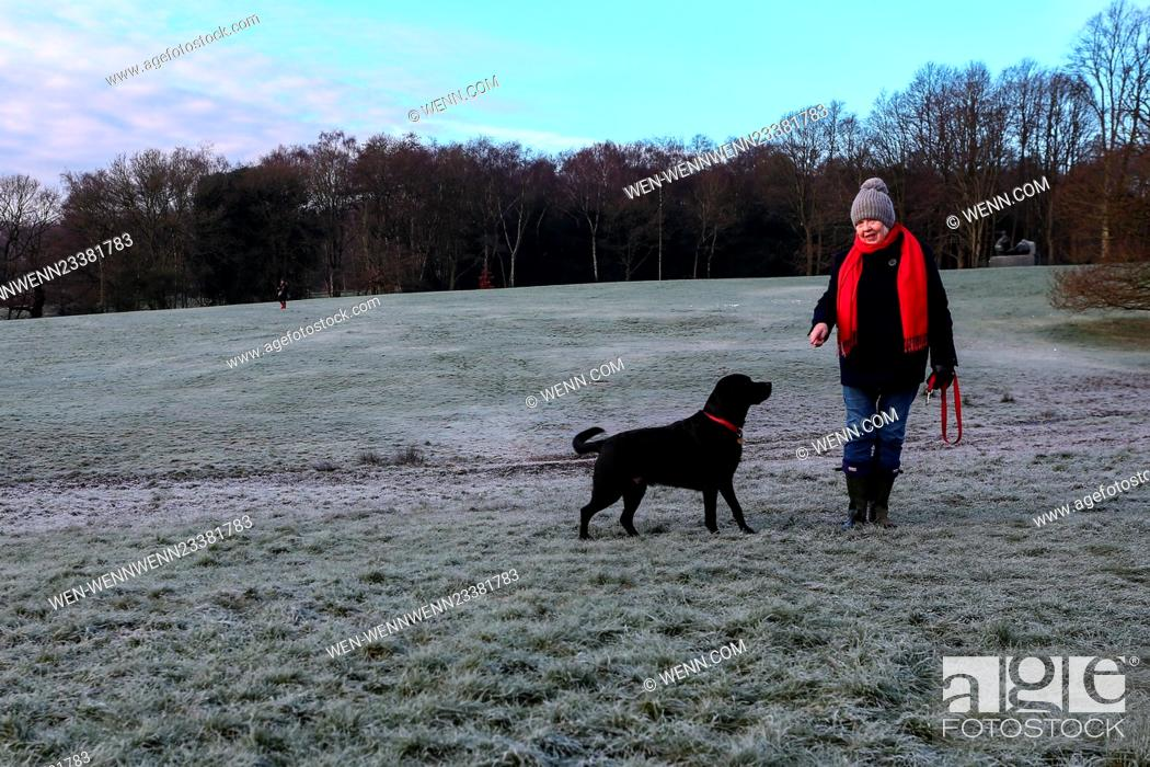 Stock Photo: Hampstead Heath is covered in a heavy frost after one of the coldest nights of the winter Featuring: Atmosphere Where: London.