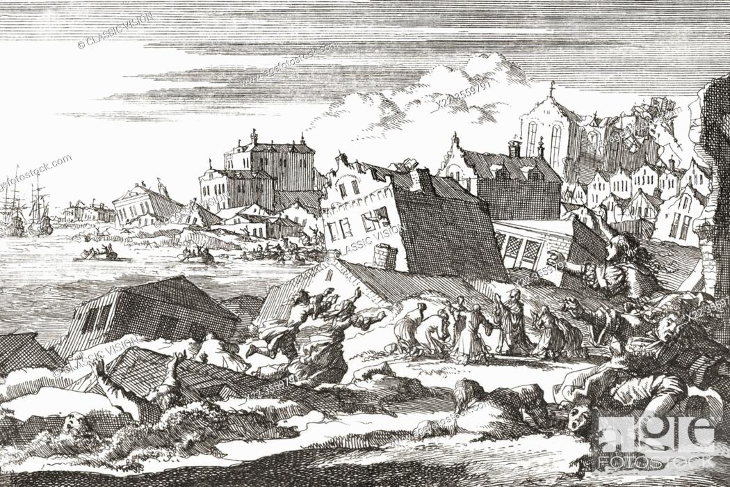 Stock Photo: The 1692 earthquake at Port Royal, Jamaica. After a work by Dutch illustrator Jan Luyken, 1649 - 1712.