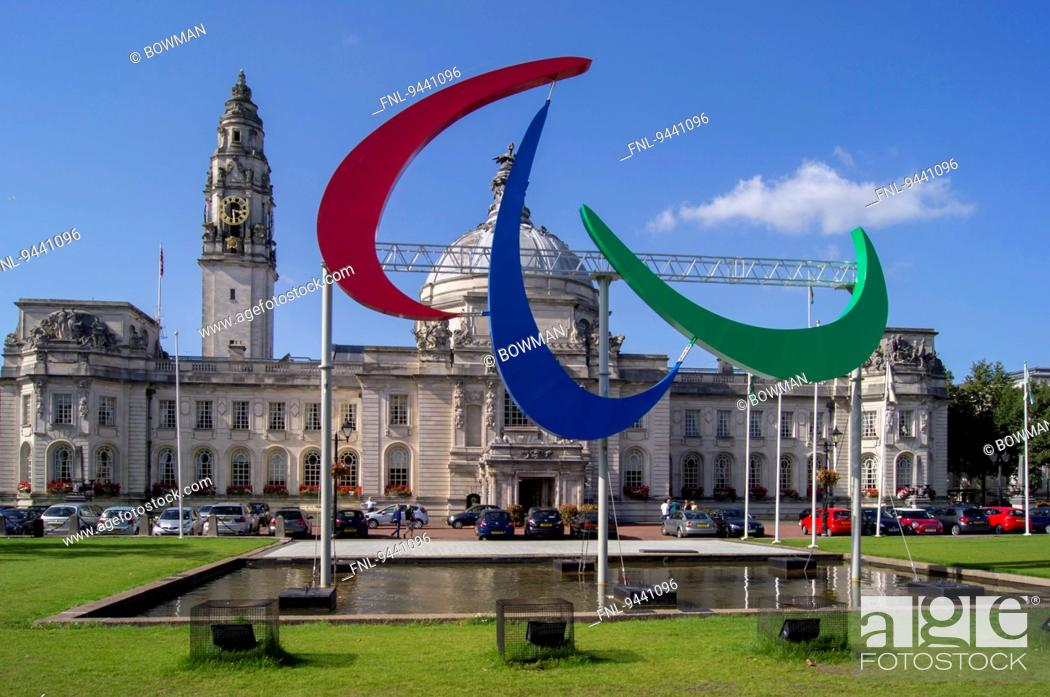 Stock Photo: Cardiff city hall, Wales, UK.