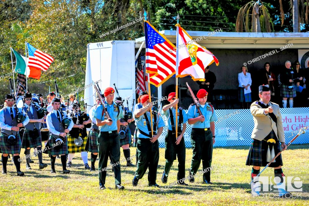 Entrance of the Scottish pipe bands at the Sarasota Highland