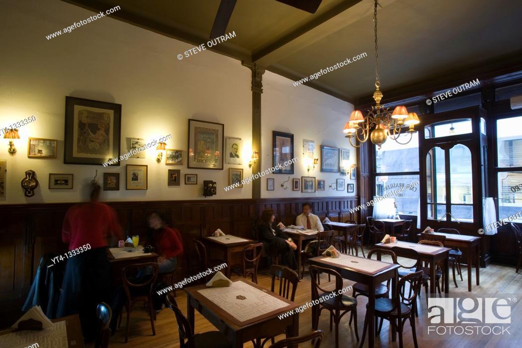 Stock Photo: Stylish interior of Cafe Brasilero  Montevideo's longest operating cafe   Opened 1877  Uruguay, South America.
