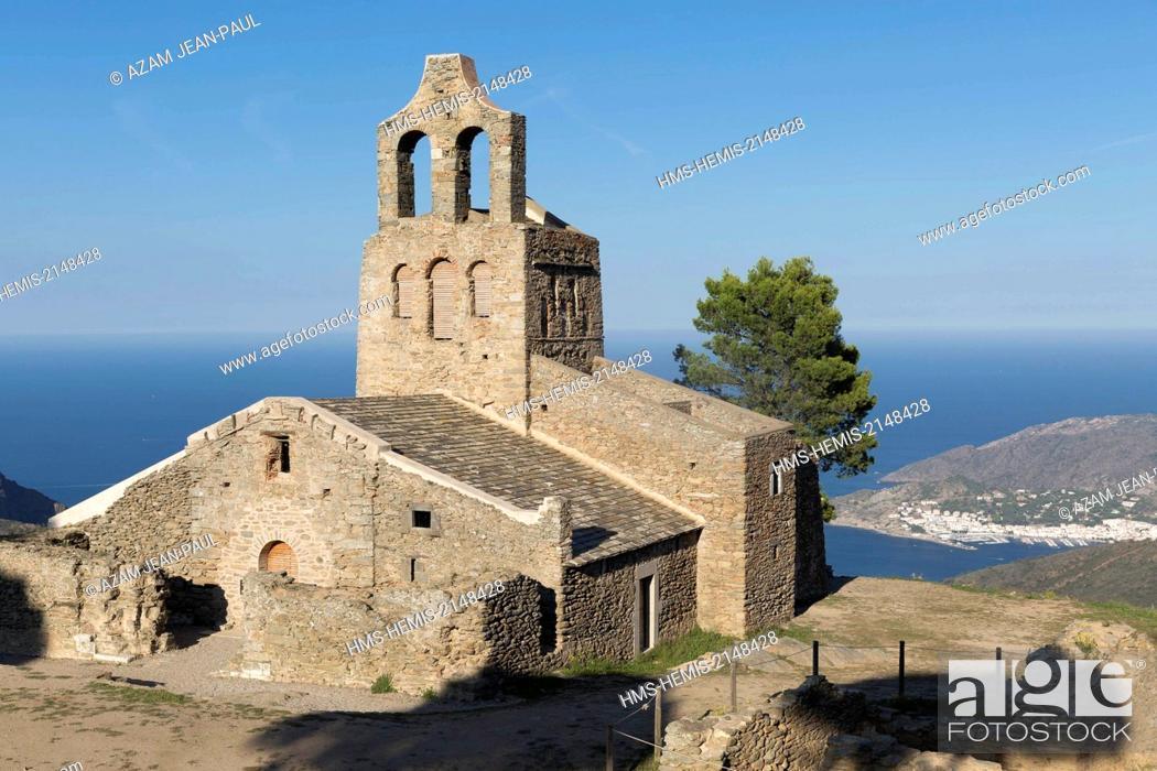 Stock Photo: Spain, Catalonia, Girona province, Port de la Selva, San Pere de Rodes monastery, Santa Helana church.